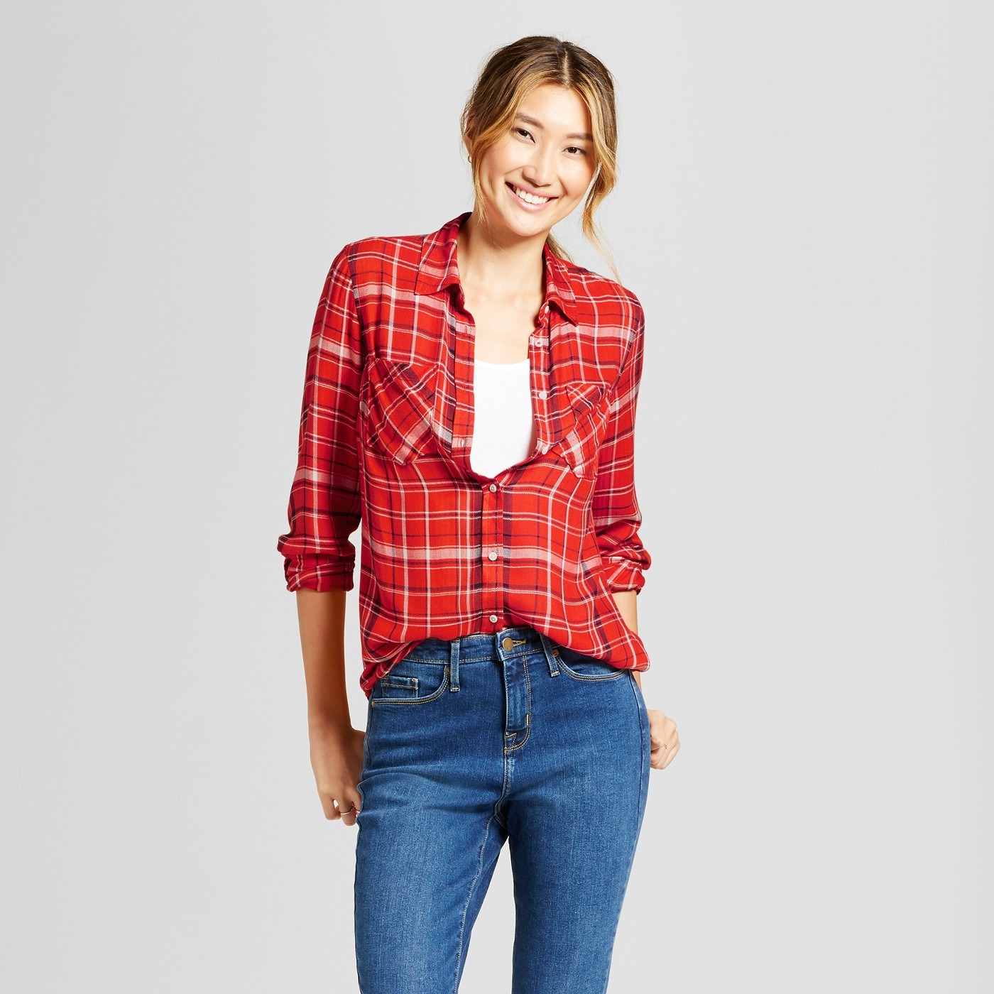 Women's Plaid Any Day Tunic - A New Day™ Tomato