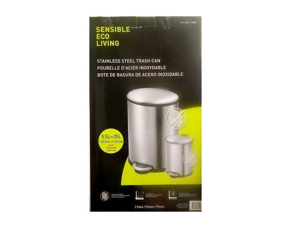SENSIBLE ECO-LIVING TRASH CAN STAINLESS STEEL 2PK