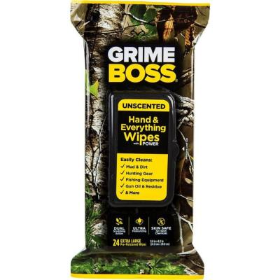 GRIME BOSS REALTREE UNSCENTED HAND WIPES - 24 COUN