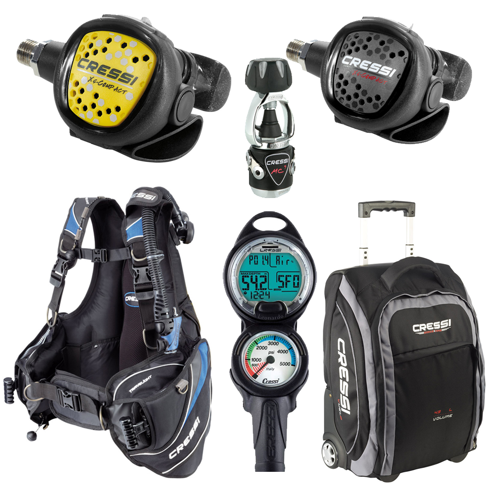 Cressi travelight bcd scuba diving gear travel package set this set is of limited quantity only so check out the scuba diving gear travel package set from cressi right away xflitez Choice Image