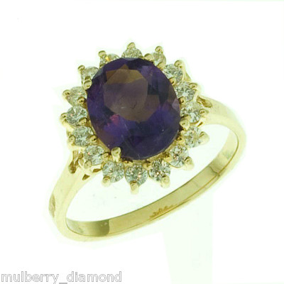 mulberry diamond amethyst and cz ring in 14k yg