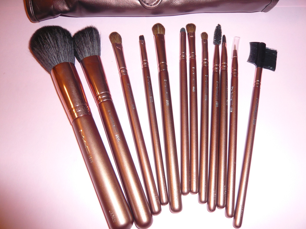 beauty express 12 piece mac brush set brown. Black Bedroom Furniture Sets. Home Design Ideas