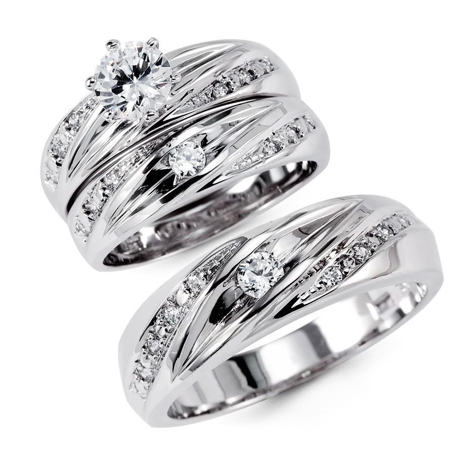 k solid white gold cz engagement wedding ring set k