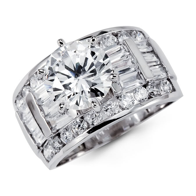 14k solid white gold cz solitaire engagement ring