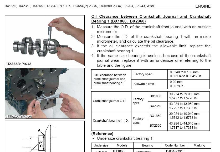 Kubota Bx1860 Bx2360 Bx2660 Tractor Service Manual Wsm