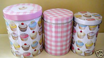Blossombudlove Set Of 3 Cupcake Gingham Kitchen