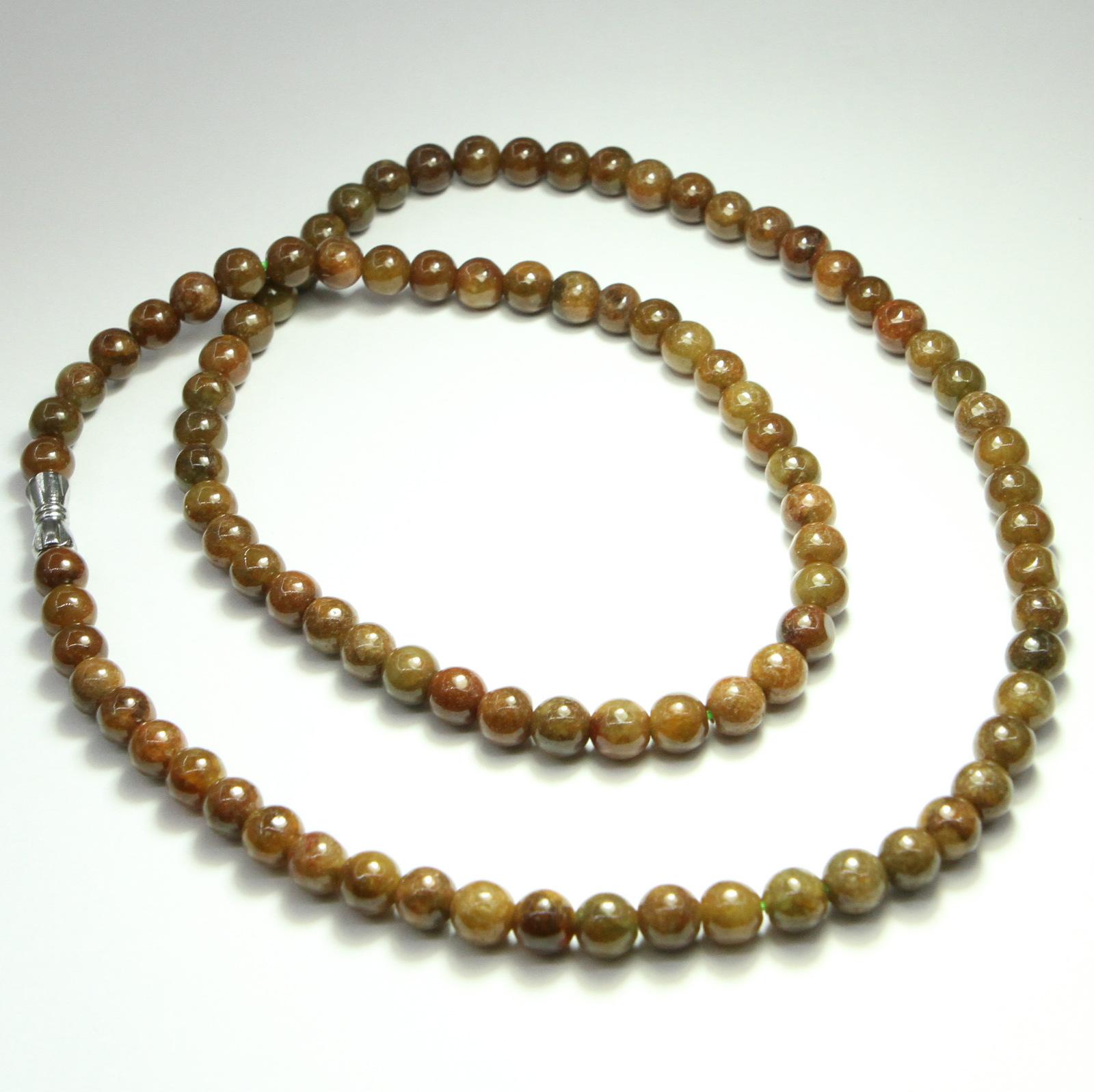 Genuine Jade Beads: 6mm Round Beads Brown Burmese Jadeite Jade 20 Inches
