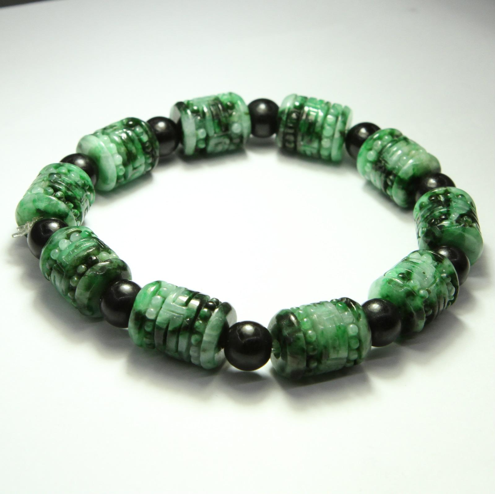 Jade Bracelet Beads: Fine Carved Burmese Imperial Green Jade Jadeite Beads