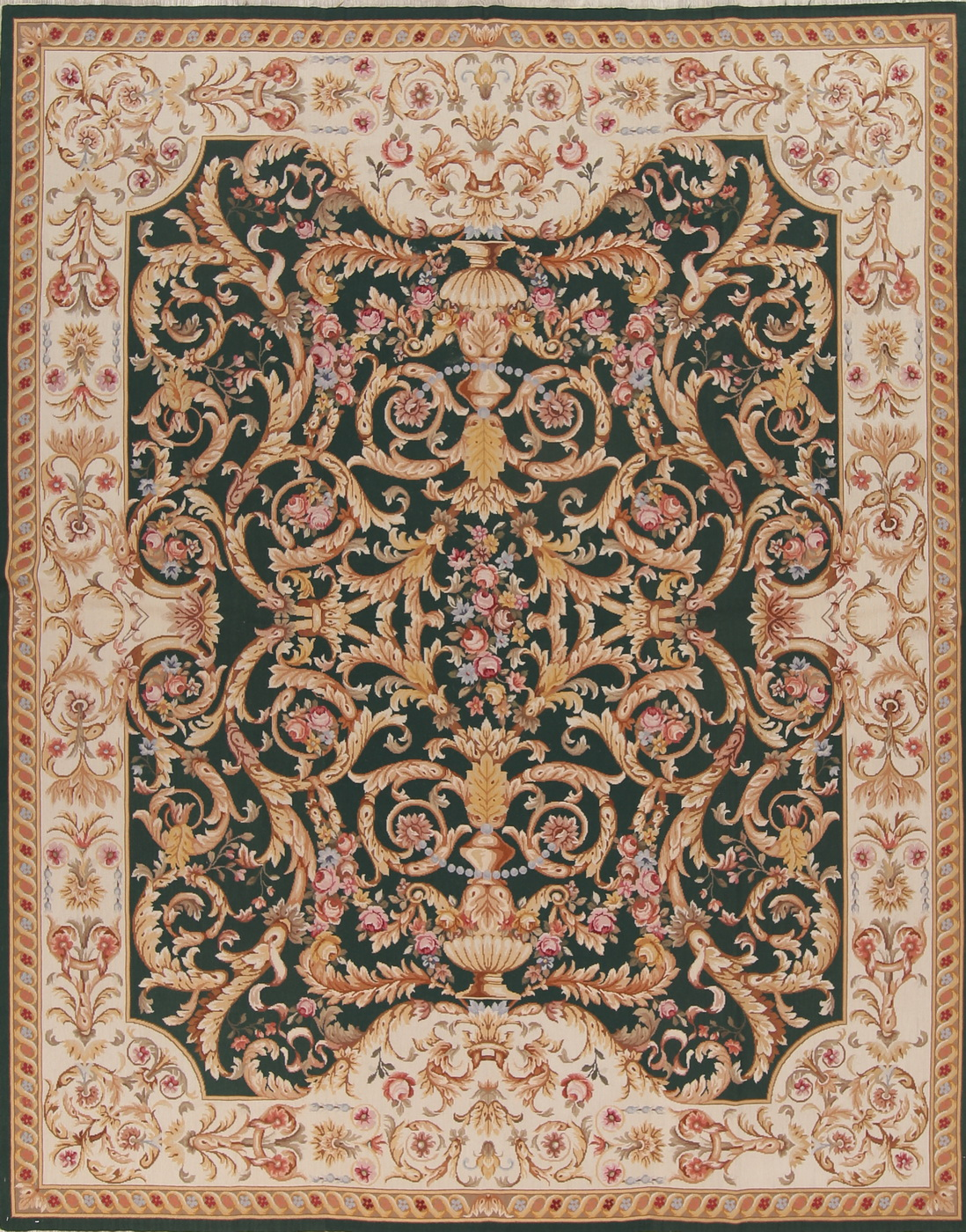 Details About Floral Green 8x10 Savonnerie Needlepoint Chinese Oriental Hand Woven Wool Rug
