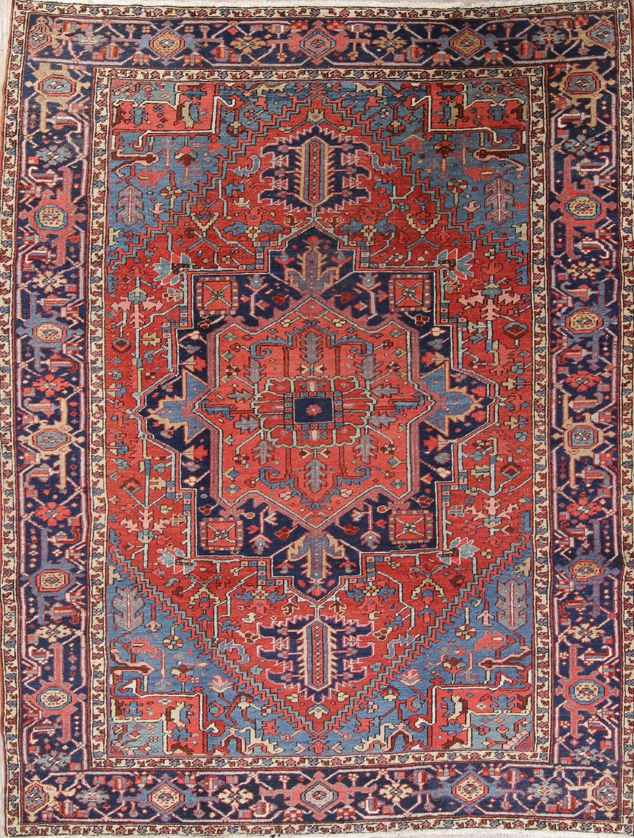 Details About Antique Vegetable Dye Geometric Heriz Serapi Oriental Area Rug Wool 7x10