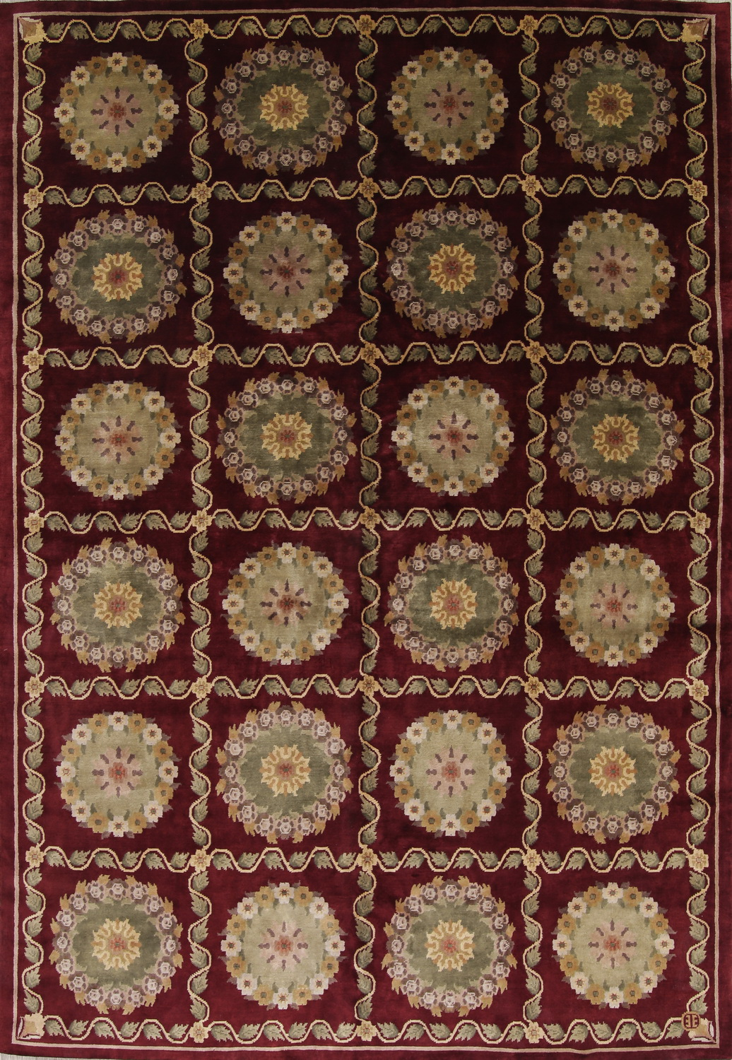 Aubusson Hand Knotted Oriental Area Rug