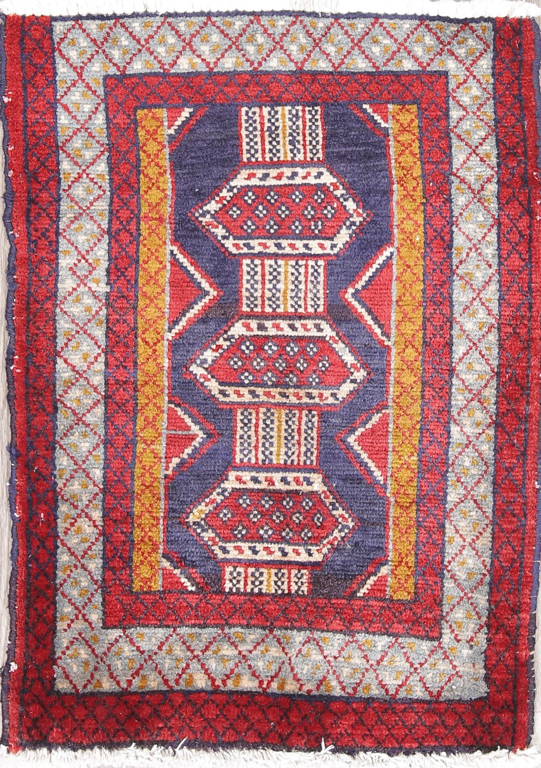 Geometric 2x3 Afghan Oriental Hand Knotted Red Navy Blue