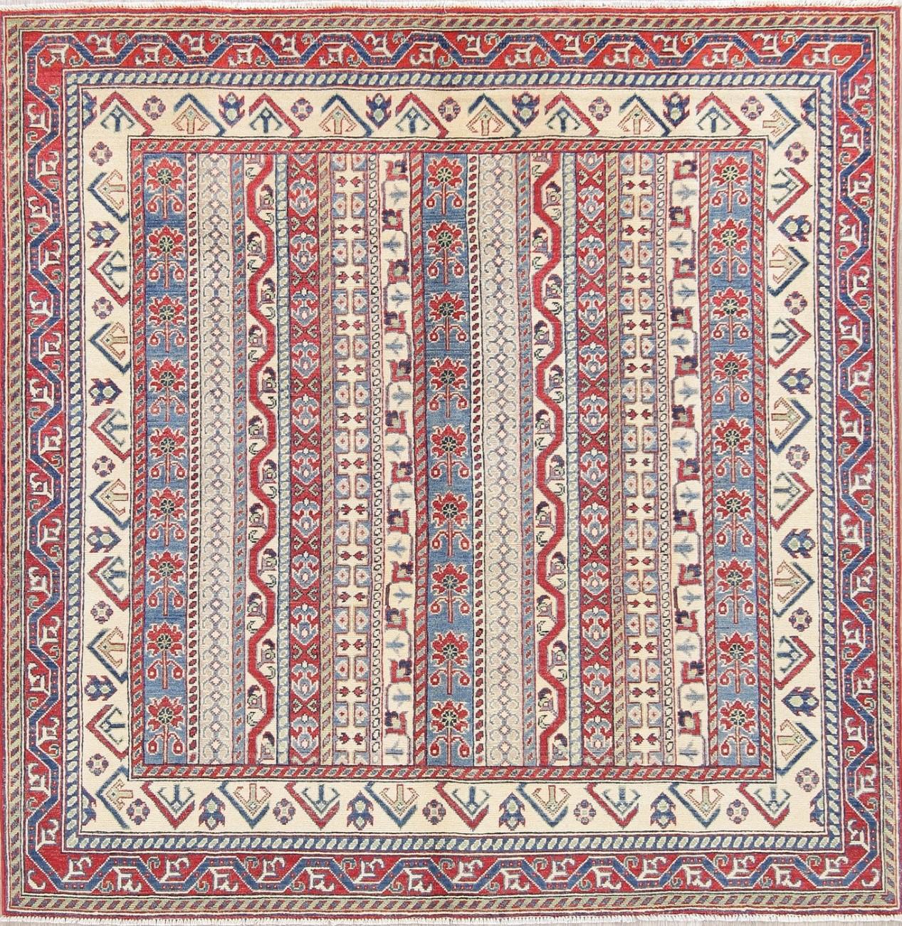 Breathtaking Large Geometric Red 10x12 Bakhtiari Persian: New Chechen-Kazak Hand-Knotted Geometric Square Rug 7x7