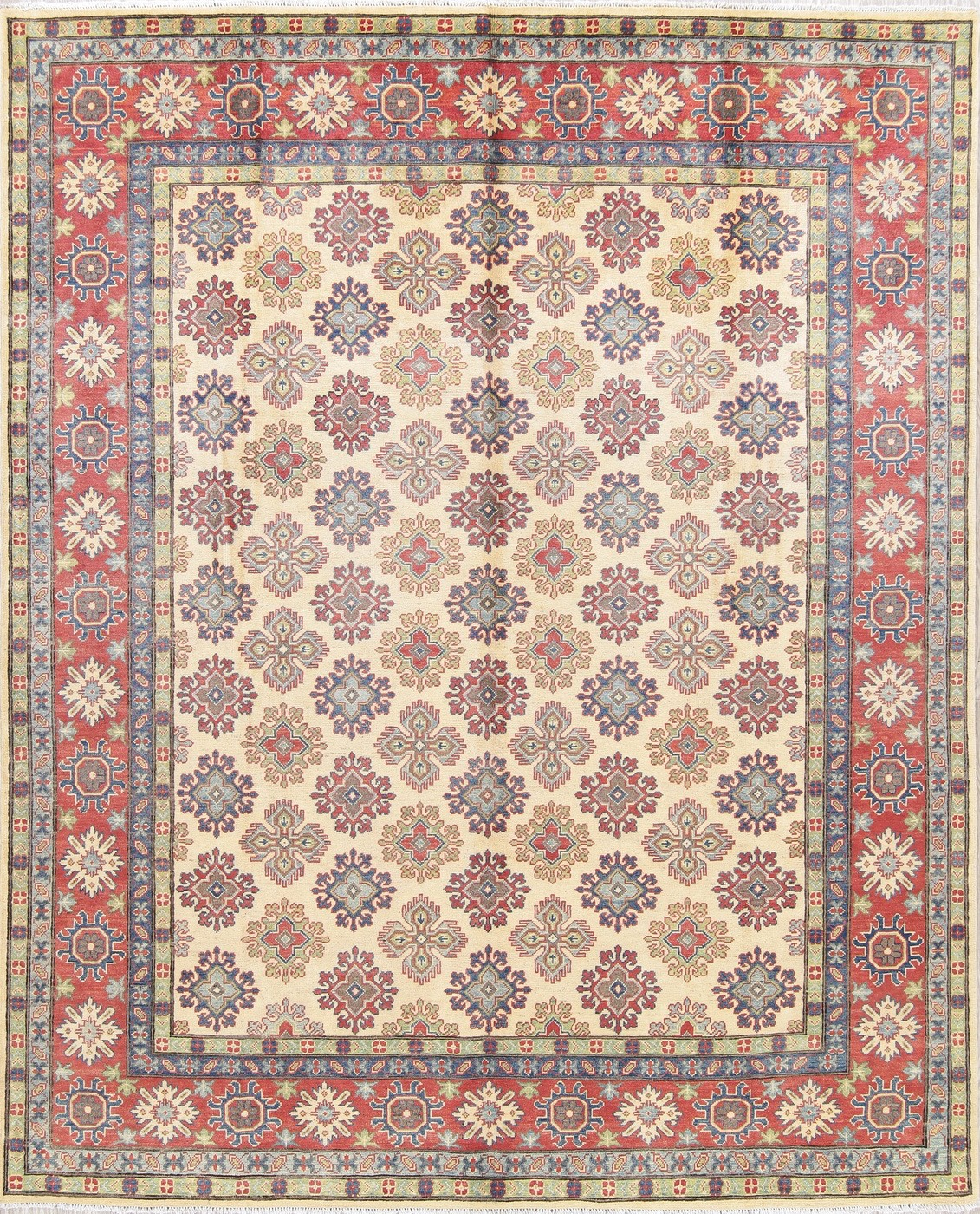 Vegetable Dyed Hand Knotted Floral Oushak Ivory Persian: 8'x10' NEW Ivory Kazak Hand-Knotted Geometric Oriental