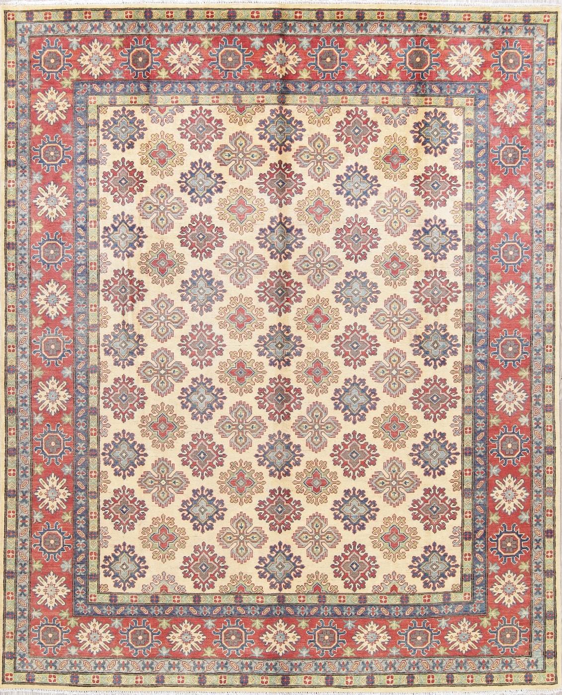 Breathtaking Large Geometric Red 10x12 Bakhtiari Persian: 8'x10' NEW Ivory Kazak Hand-Knotted Geometric Oriental