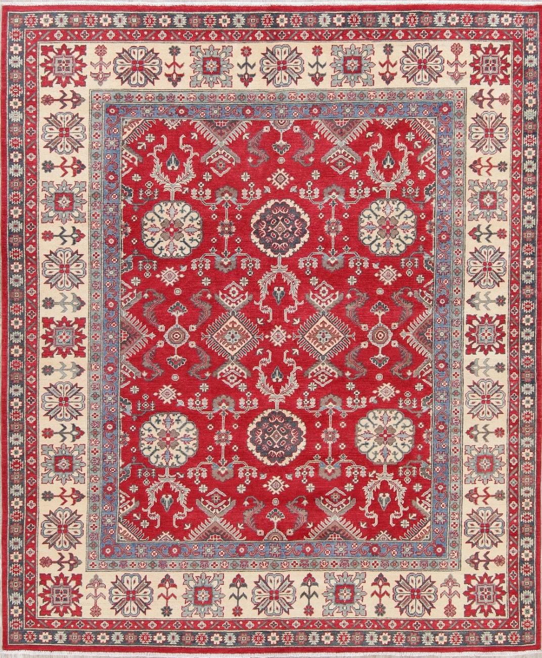 Breathtaking Large Geometric Red 10x12 Bakhtiari Persian: 8'x10' Red And Ivory NEW Kazak Hand-Knotted Geometric