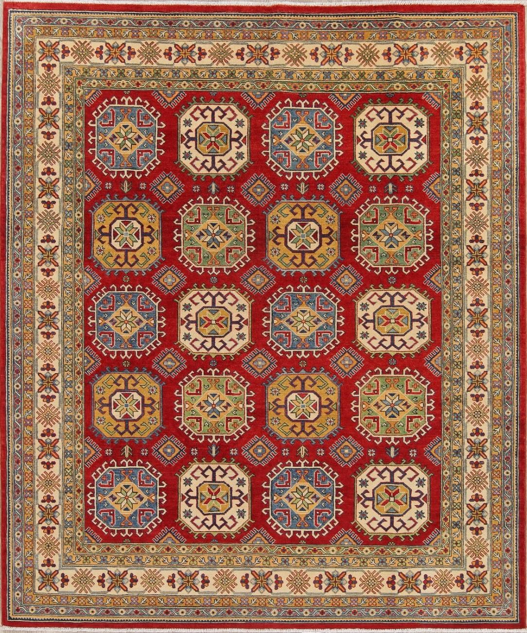 Breathtaking Large Geometric Red 10x12 Bakhtiari Persian: NEW Superb Geometric 8x10 Kazak Area Rug Hand-Knotted