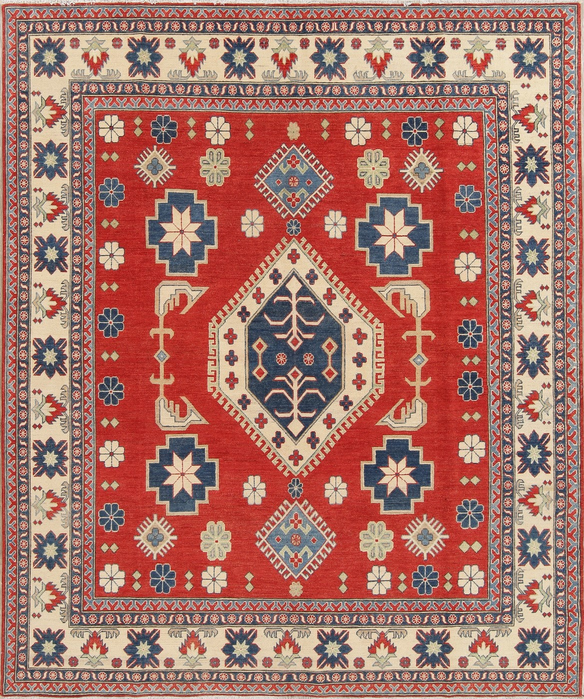 8x10 Red Blue Ivory Wool Pakistan Kazak Hand Knotted