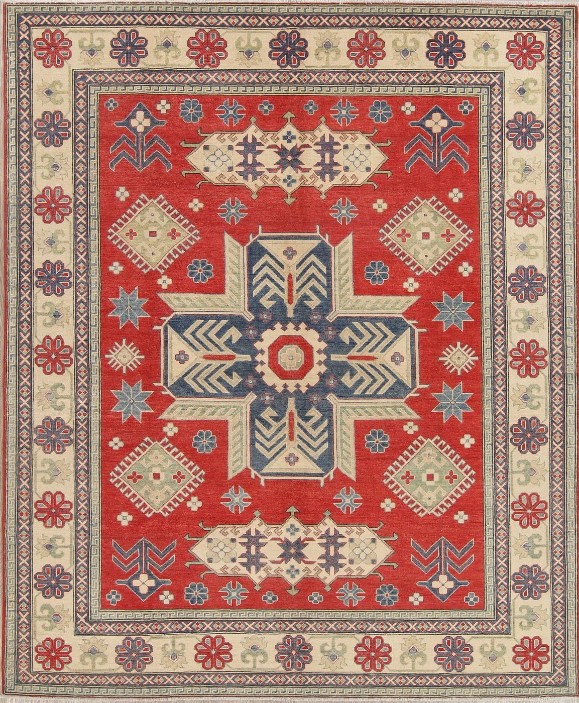 New Geometric Chechen-Kazak Pakistan Oriental Area Rugs Hand