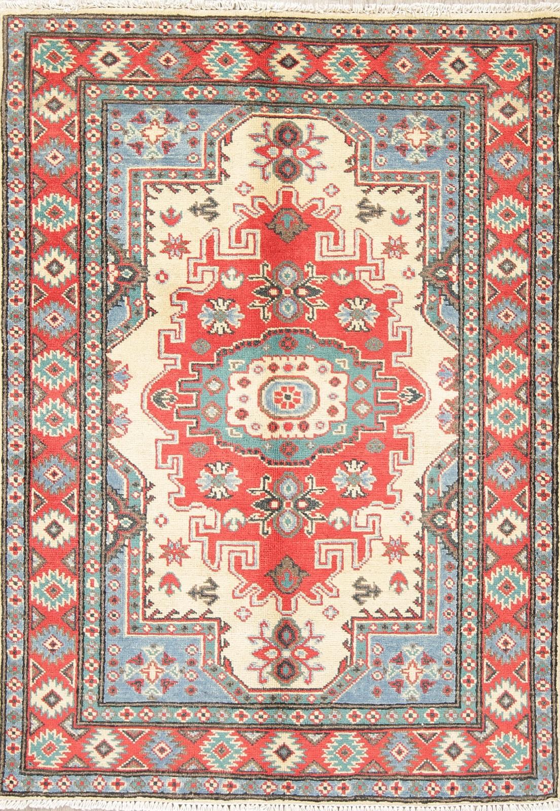 Ivory Red Geometric Kazak Pakistan Oriental Hand Knotted Wool Area Rug 3 X 5 Ebay