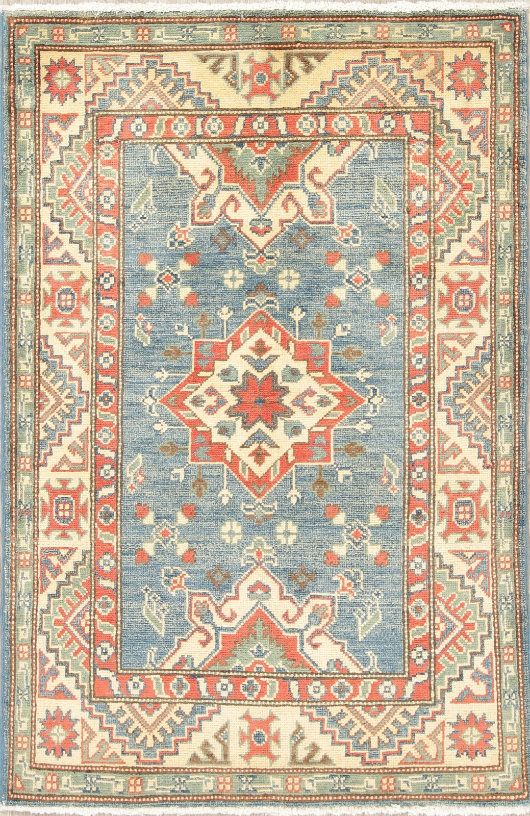 Details About 3 X 4 Geometric Light Blue Green Kazak Hand Knotted Geometric Oriental Rug