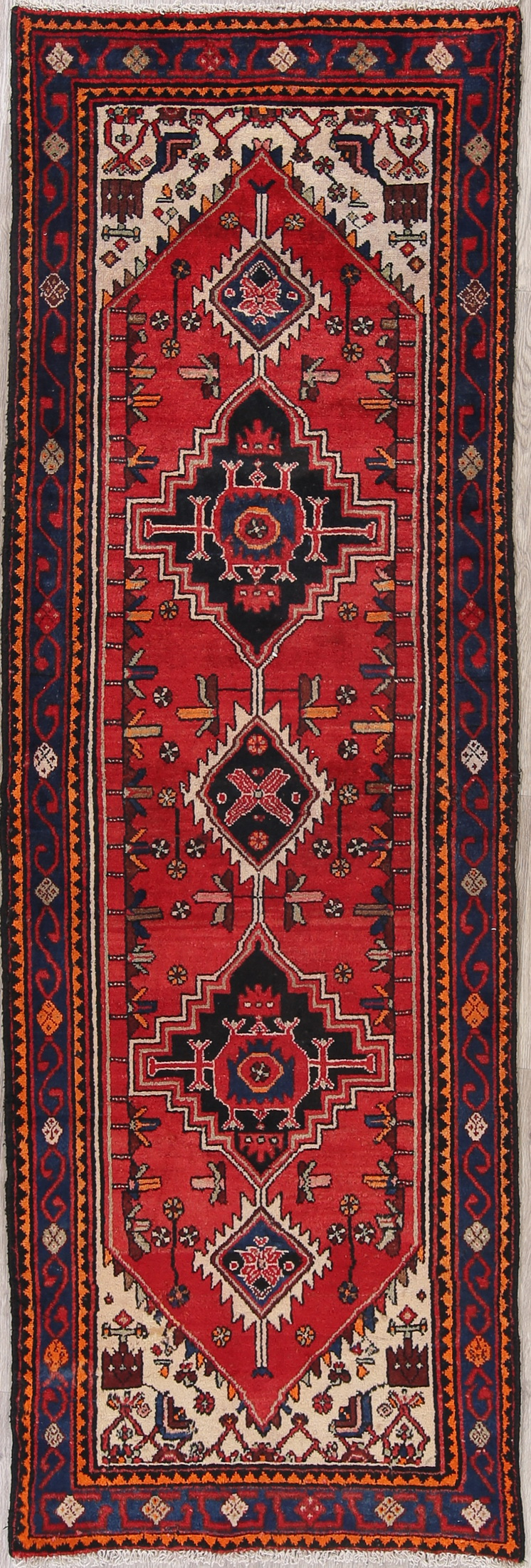 Vintage 10 Ft Tribal Runner Bakhtiari Persian Oriental