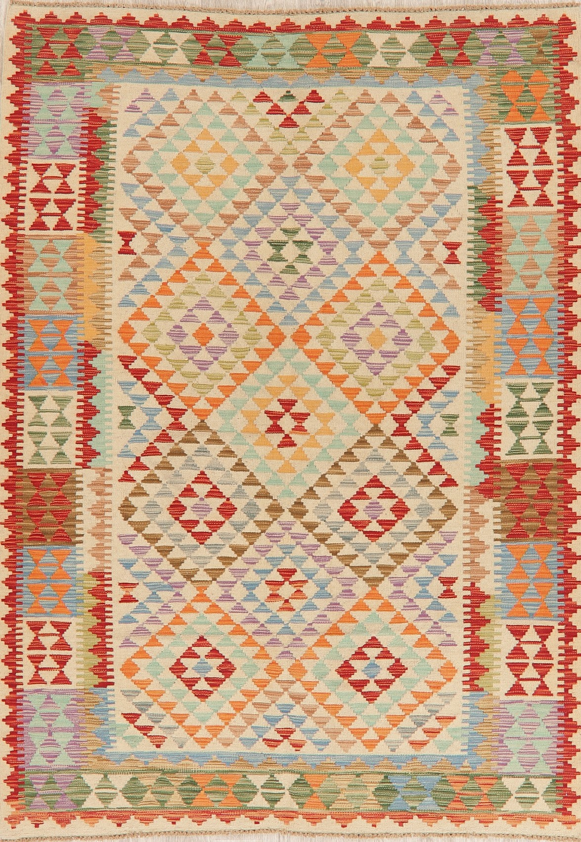 Geometric Contemporary Turkish Kilim Area Rug Hand Woven