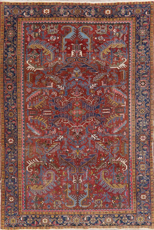 Antique Heriz Serapi Persian Area Rug All Over Oriental