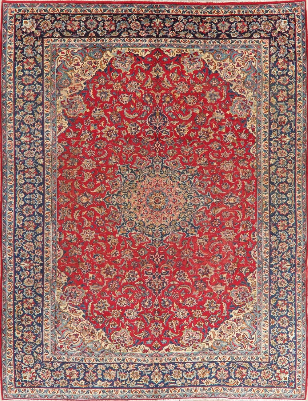 Vintage Traditional Persian Oriental Area Rug Floral Hand