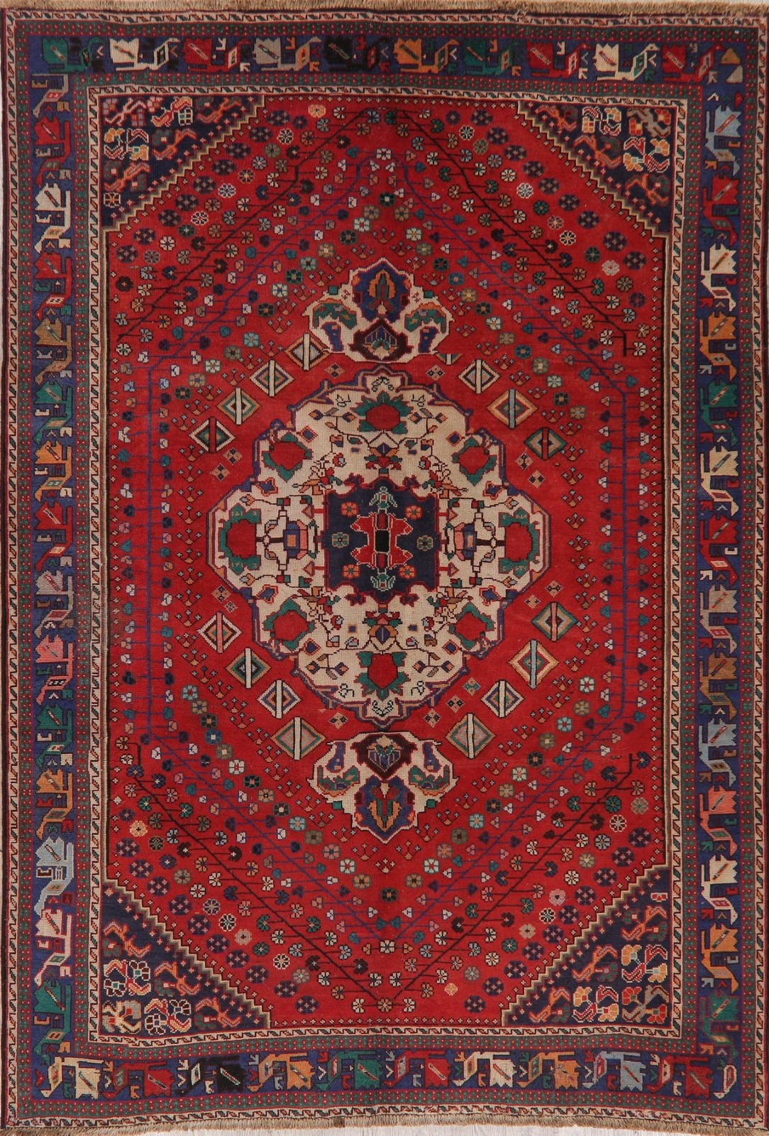 One Of A Kind Vintage Red Bakhtiari Persian Area Rug