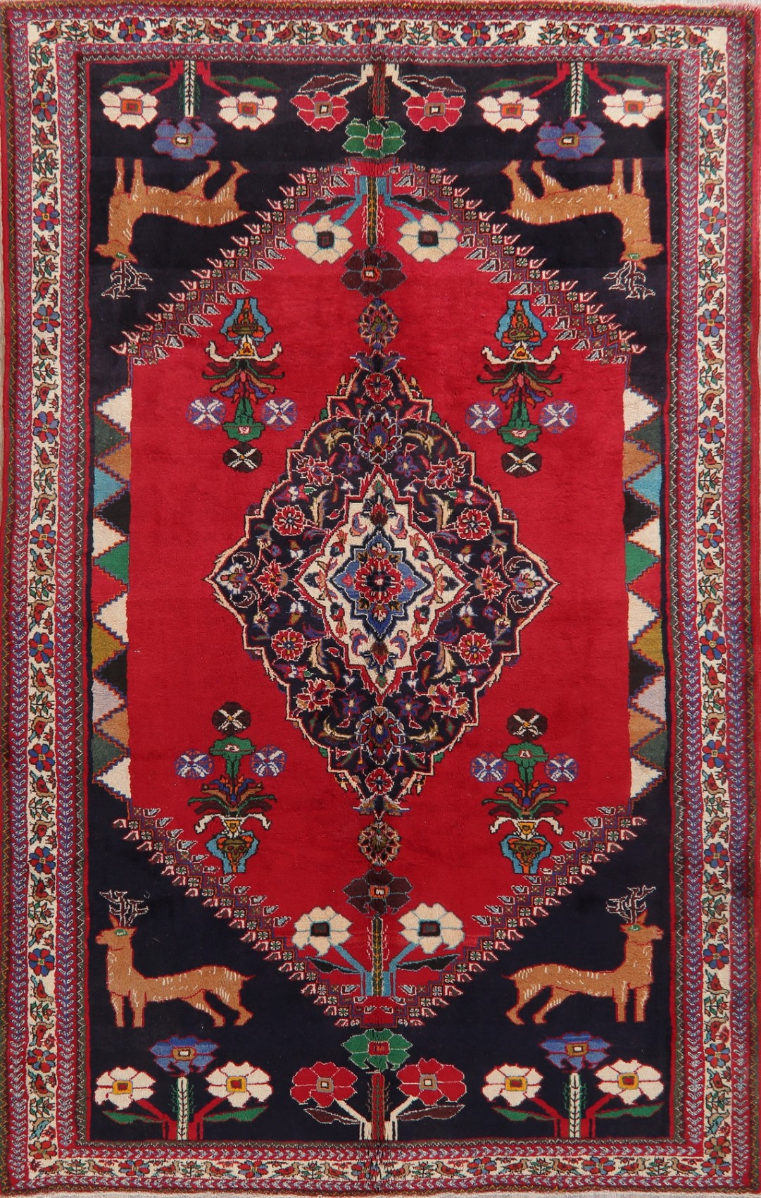 Birds Abadeh Red Area Rug