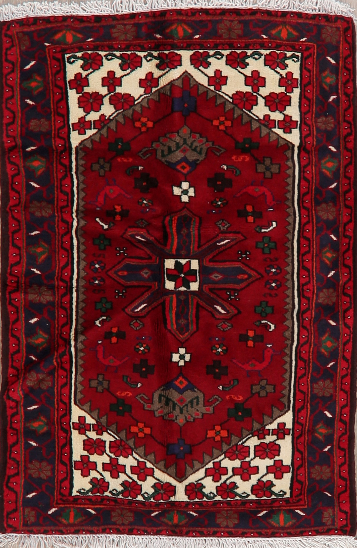 Geometric Tribal Red Hamedan Area Rug Hand Made Wool Kitchen Office Carpet 3 X5 Ebay