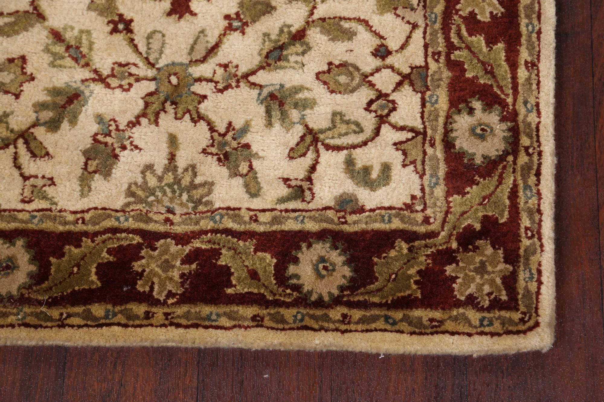 "All-Over Floral DARK BURGUNDY 9 ft Agra Wool Hand-Tufted Runner Rug 9/' 0 x 2/' 6/"""