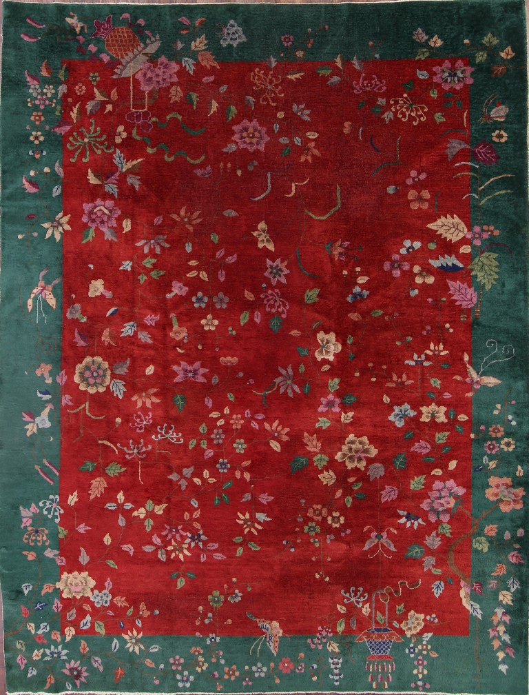 Antique Floral Red Green 9x12 Art Deco Nichols Chinese