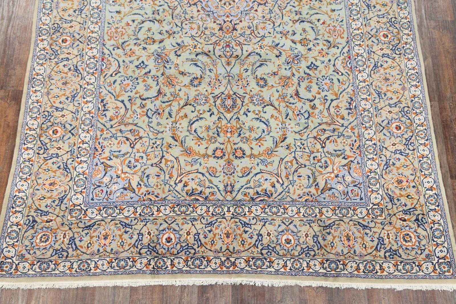 excellent hand knotted floral sage green 9x13 kashan persian oriental area rug ebay. Black Bedroom Furniture Sets. Home Design Ideas