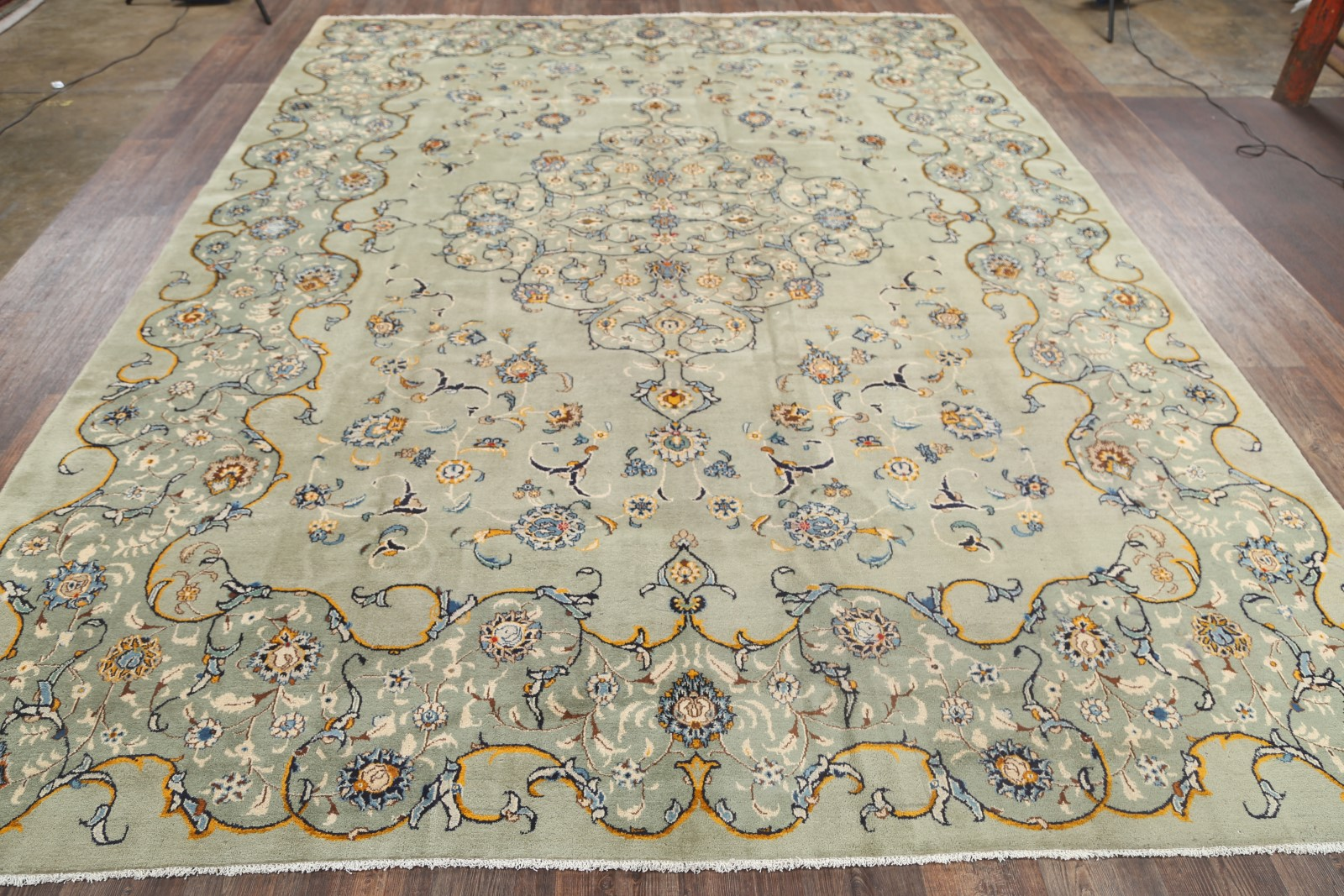 floral sage green 10x14 signed kashan persian oriental area rug 14 39 2 x 10 39 4. Black Bedroom Furniture Sets. Home Design Ideas