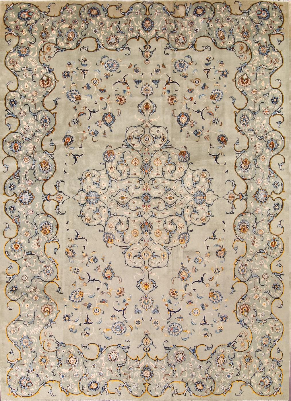 floral sage green 10x14 signed kashan persian oriental area rug 14 39 2 x 10 39 4 ebay. Black Bedroom Furniture Sets. Home Design Ideas
