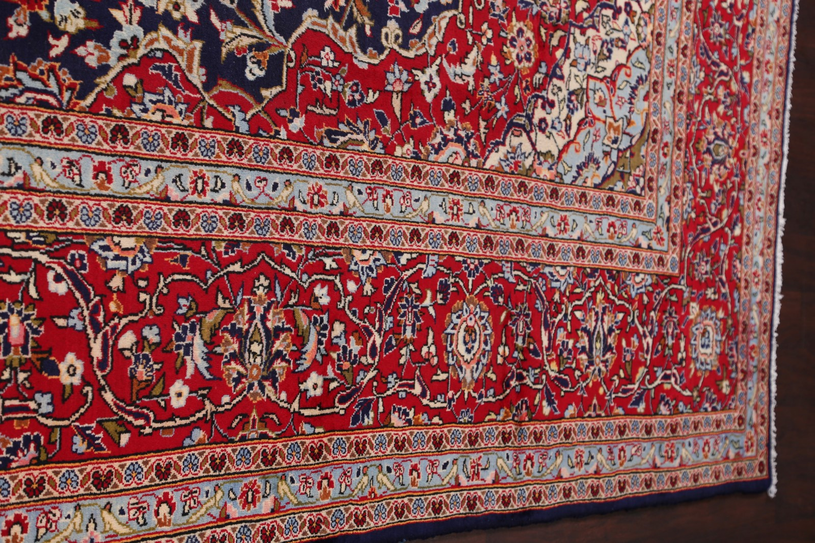 Large navy blue red floral 10x14 kashan persian oriental for Red floral area rug