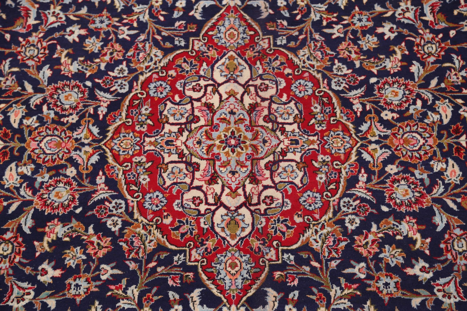 Large Navy Blue Red Floral 10x14 Kashan Persian Oriental