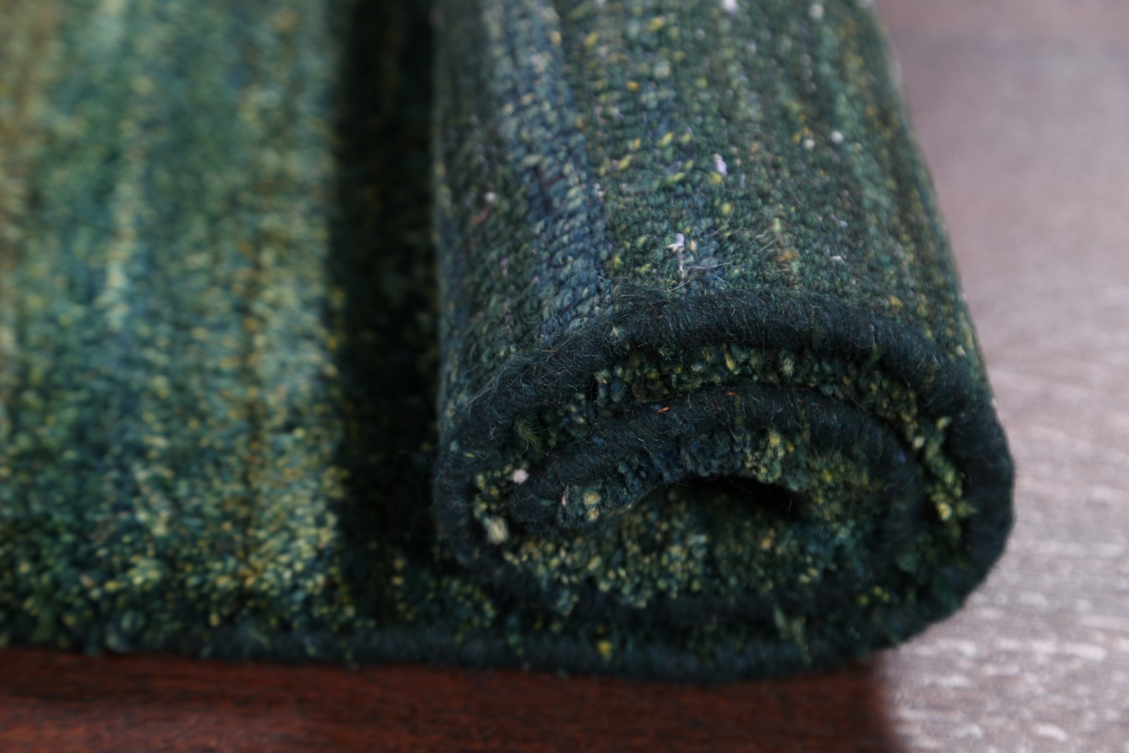 Thick Pile Contemporary Solid Green Gabbeh Qashqai Modern