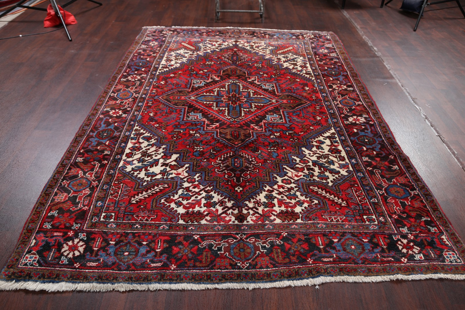 End Of Summer Deal Vintage Geometric Heriz Persian Hand