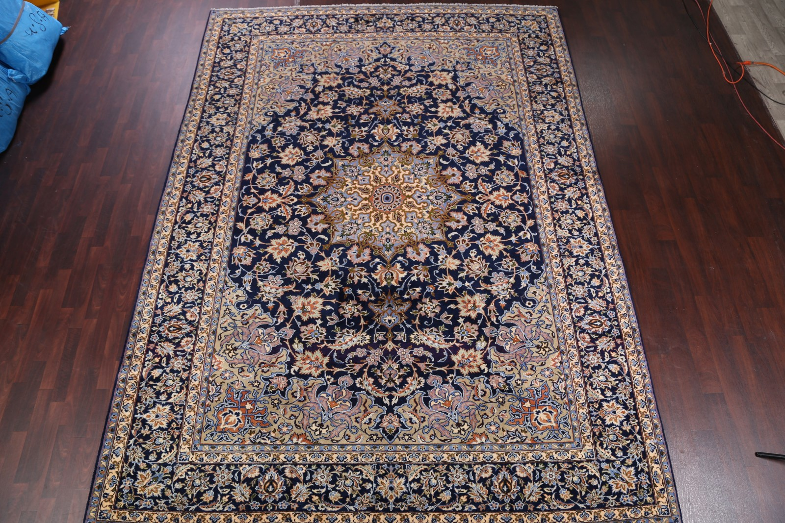 Excellent Navy Blue Floral 10x13 Najafabad Isfahan Persian