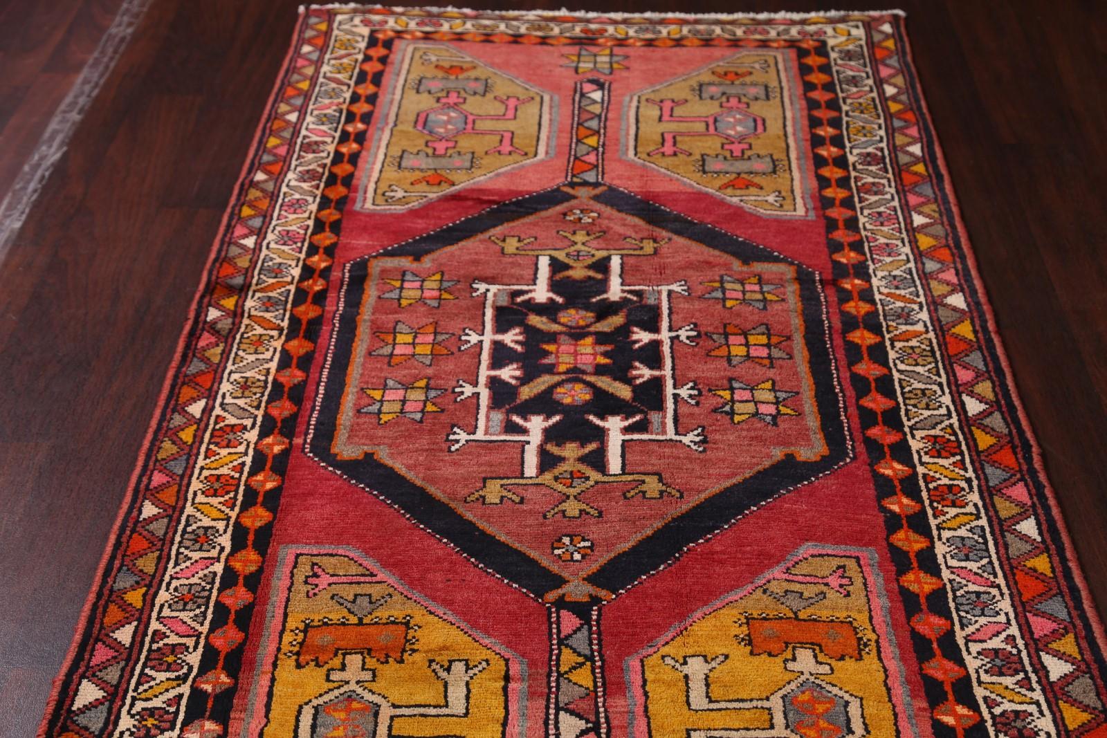 Vintage Geometric Runner 4x13 Ahar Heriz Persian Oriental