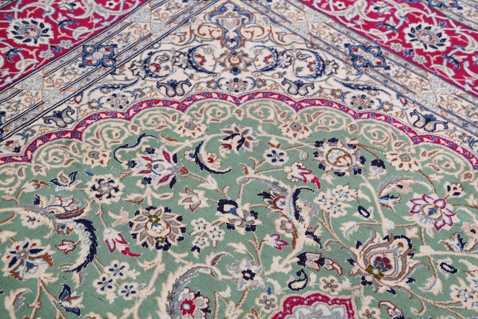 Pair Of 2 Wool Amp Silk Floral Green 8x11 Nain Isfahan