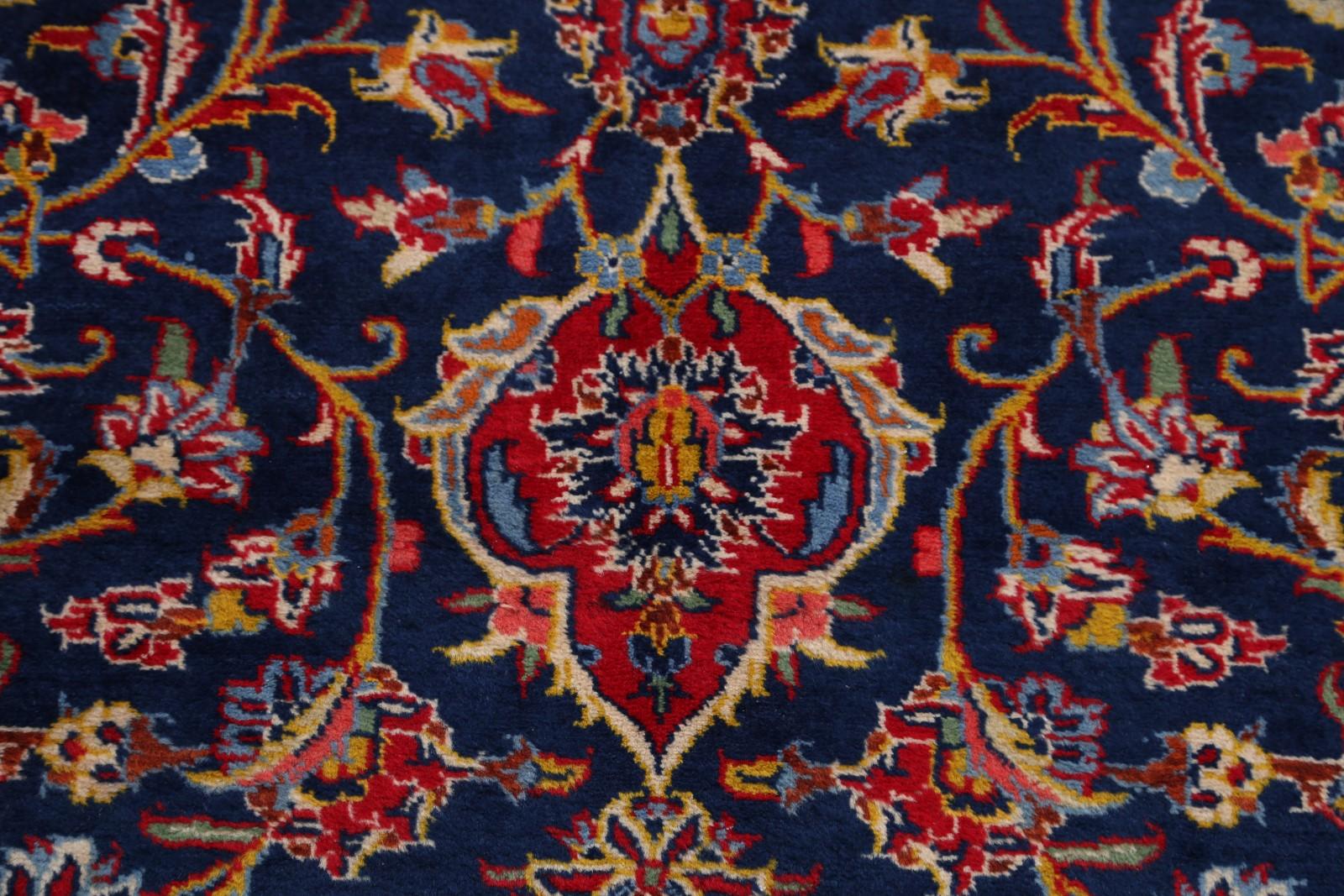 Vintage Navy Blue Red Traditional Floral 10x14 Kashan
