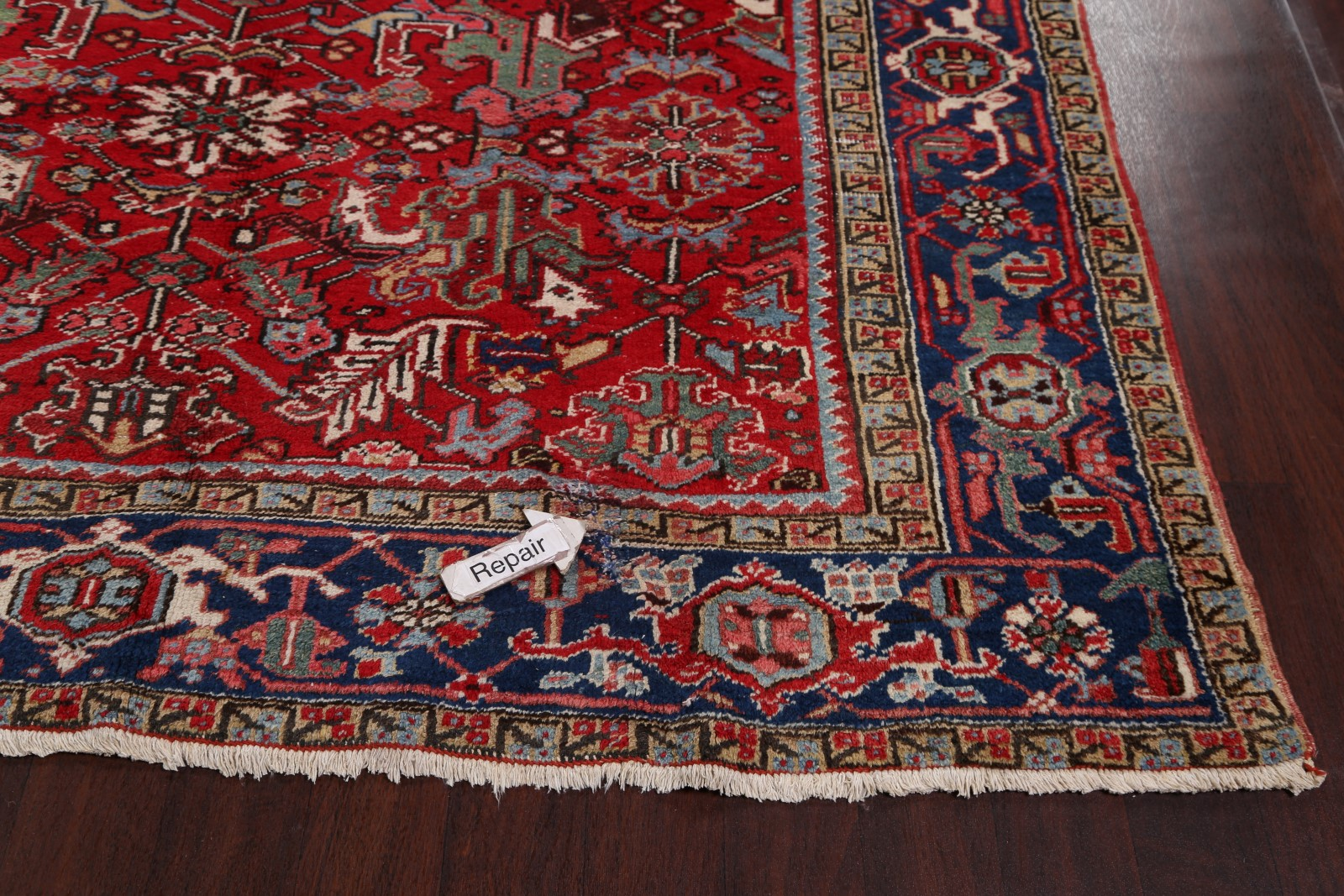 Antique All Over Pattern Geometric Red 8x11 Heriz Persian