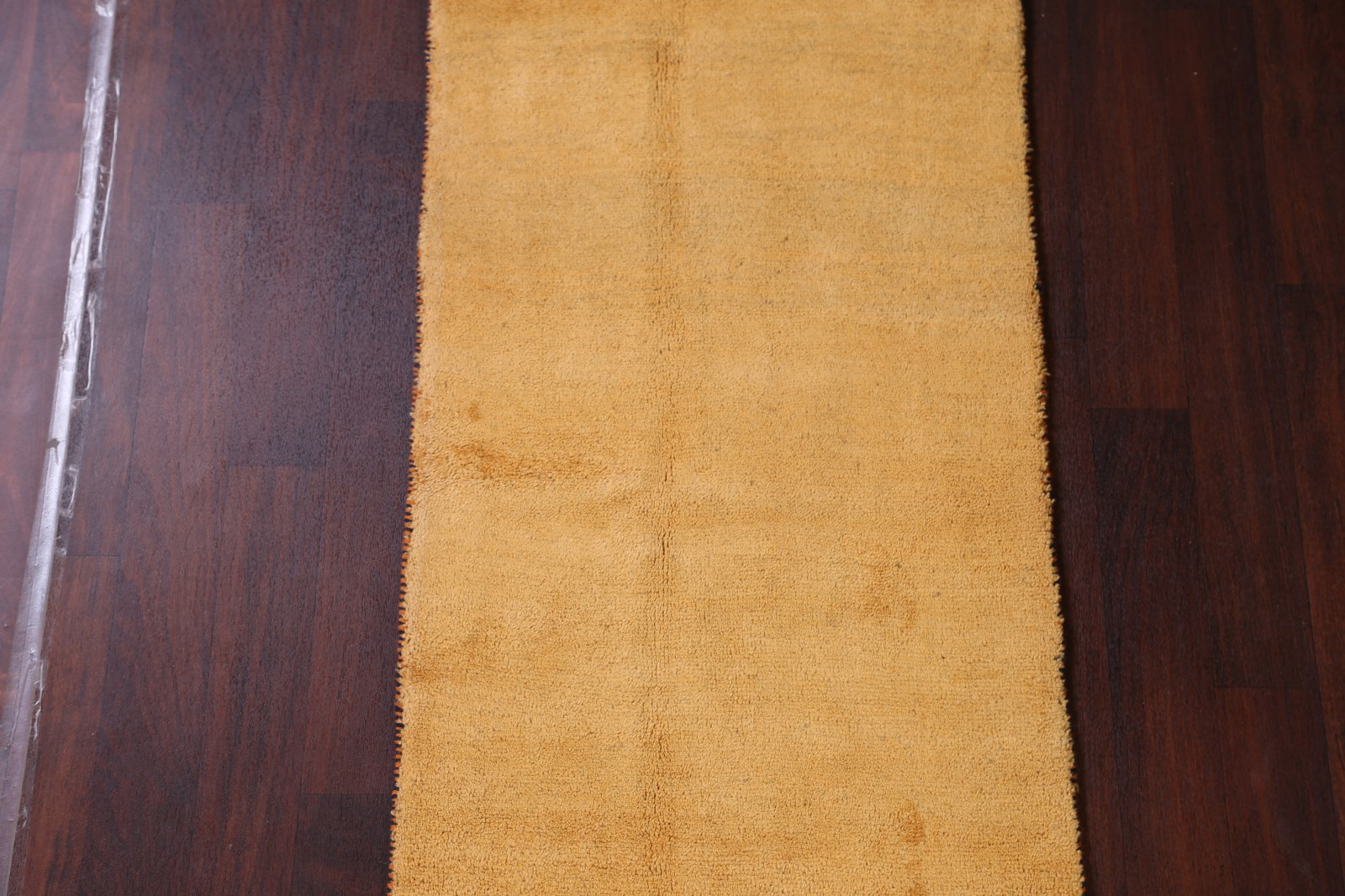 Contemporary Thick Pile Gold 10 Ft Runner Gabbeh Persian