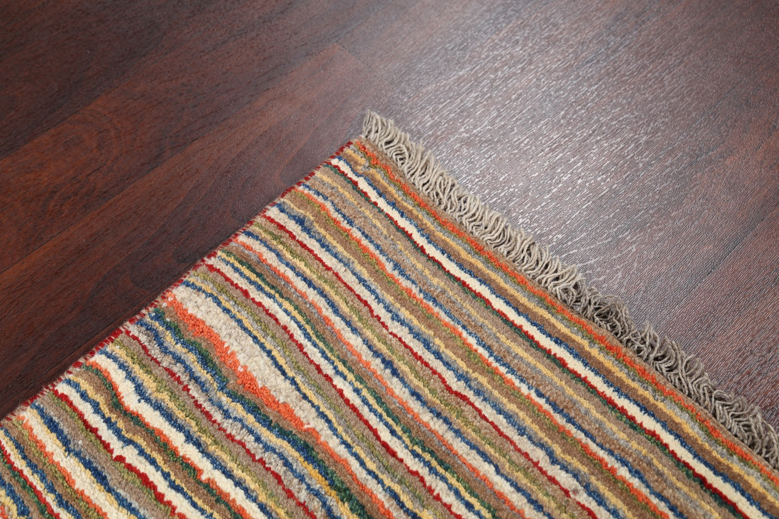 Striped Multi Colored Gabbe Rug 3 X5 Hand Knotted Modern