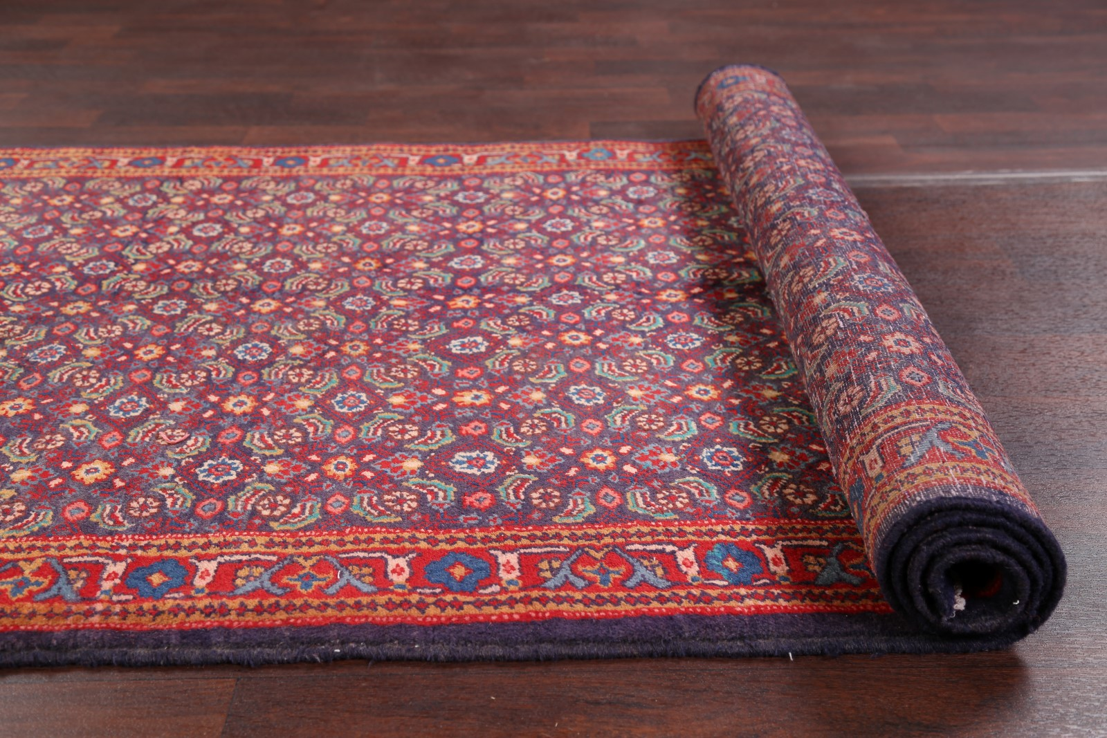 All Over Floral Blue Runner 4x10 Sarouk Persian Oriental