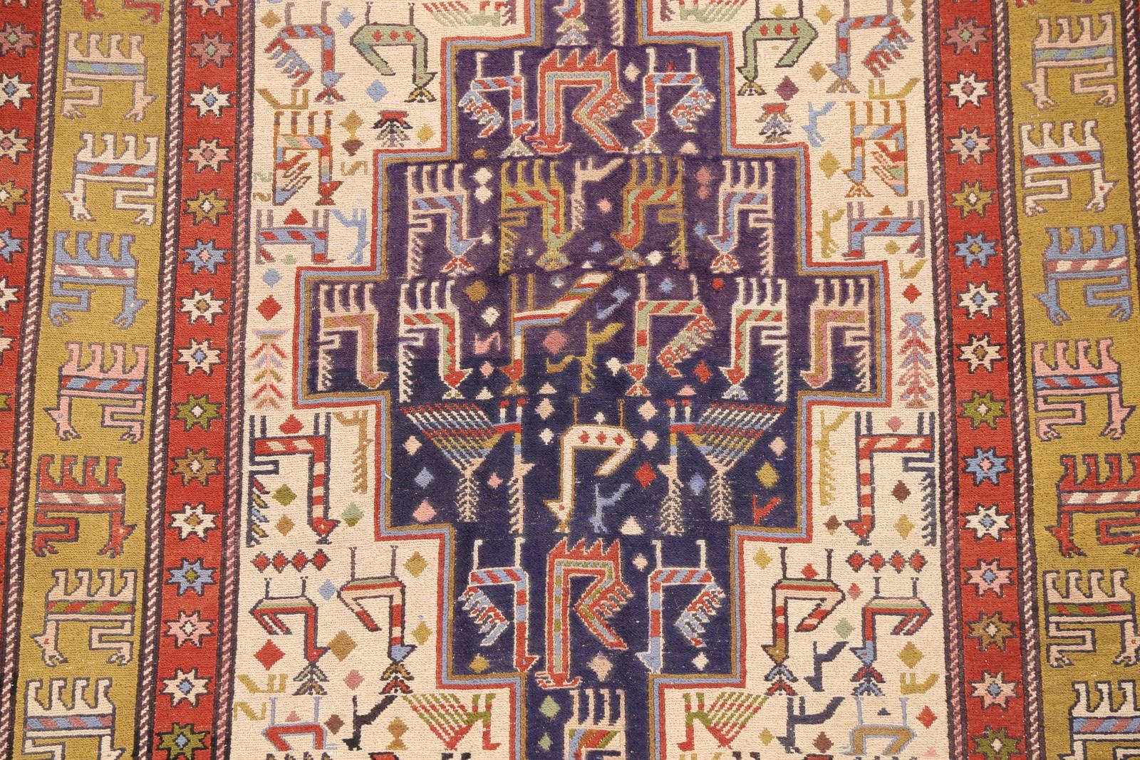 Geometric Tribal Animal Symbol 4x5 Sumak Kilim Persian